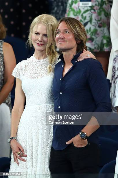 Nicole Kidman and Keith Urban smile following the Women's Semi Final match between Petra Kvitova of the Czech Republic and Danielle Collins of the...