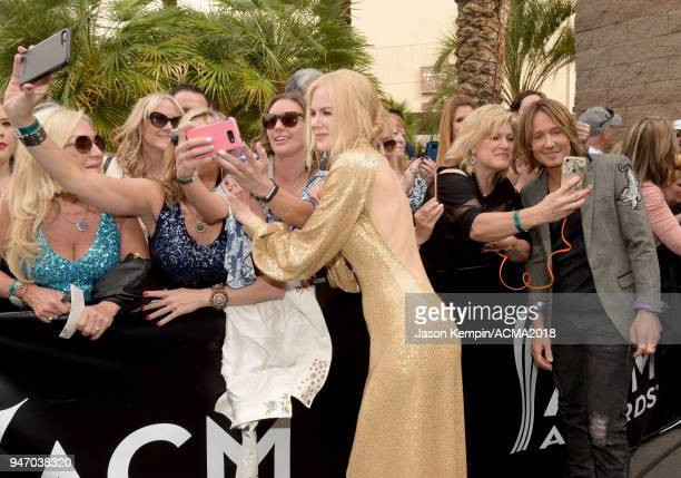 Nicole Kidman and Keith Urban take a selfie at the 53rd Academy of Country Music Awards at MGM Grand Garden Arena on April 15 2018 in Las Vegas Nevada