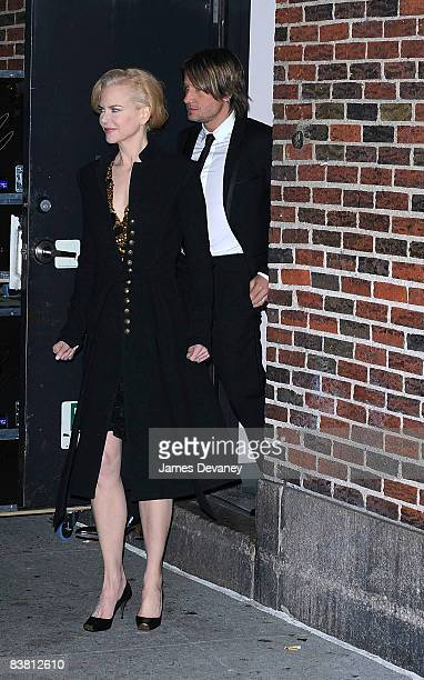 Nicole Kidman and Keith Urban visit Late Show with David Letterman at the Ed Sullivan Theater on November 24 2008 in New York City