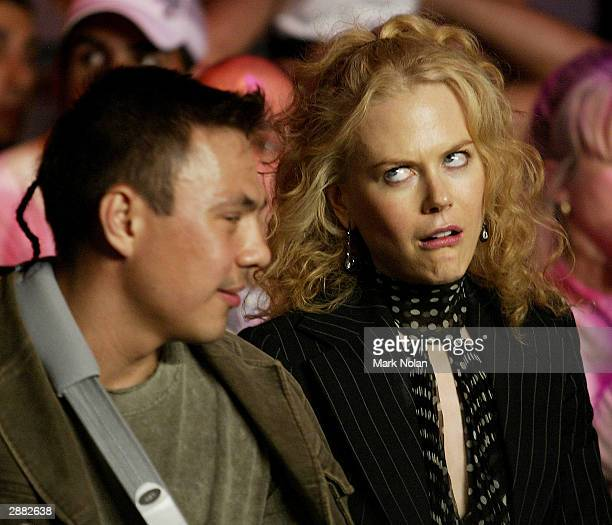Nicole Kidman and Kostya Tszyu during the WBA Super Middle Weight Boxing Title Defence between the current champion Anthony Mundine of Australia and...