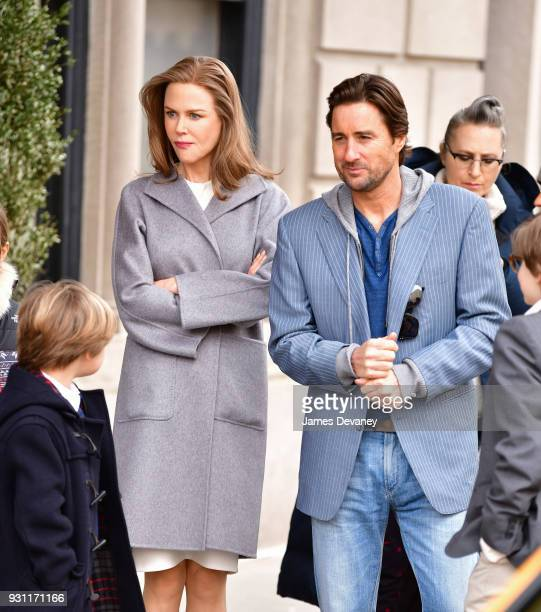 Nicole Kidman and Luke Wilson seen on location for 'Goldfinch' in Manhattan on March 12 2018 in New York City