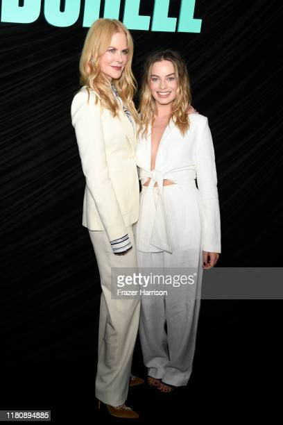 "Nicole Kidman and Margot Robbie attend a special screening of Lionsgate's ""Bombshell"" at Pacific Design Center on October 13, 2019 in West Hollywood,..."