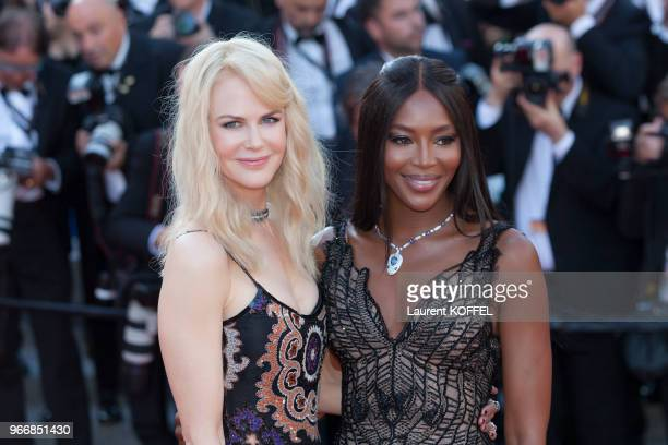 Nicole Kidman and Naomi Campbell attend the 70th Anniversary screening during the 70th annual Cannes Film Festival at Palais des Festivals on May 23,...