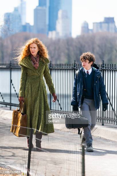 Nicole Kidman and Noah Jupe are seen on set for 'The Undoing' in Central Park on March 27 2019 in New York City