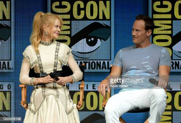 Nicole Kidman and Patrick Wilson speak onstage at the Warner Bros theatrical panel during ComicCon International 2018 at San Diego Convention Center...