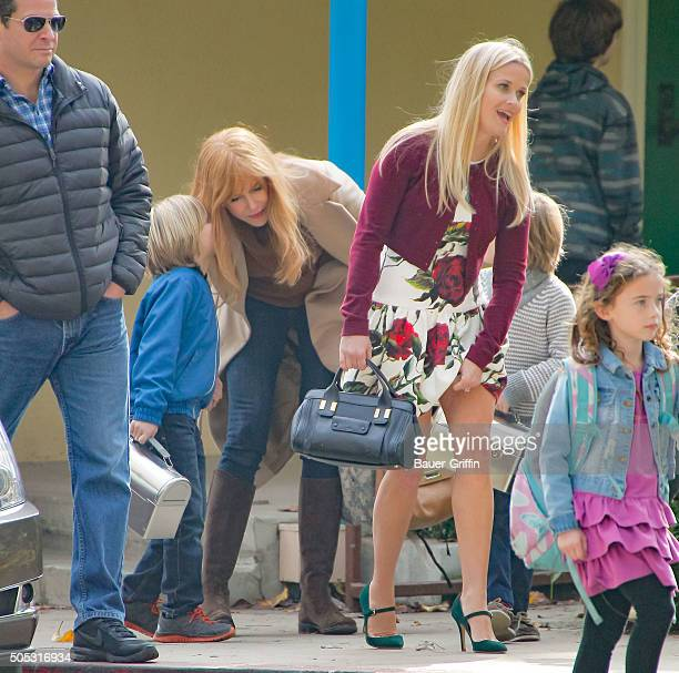 Nicole Kidman and Reese Witherspoon on the set of 'Big Little Lies' are seen on January 16 2016 in Los Angeles California