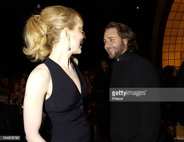 Nicole Kidman and Russell Crowe during The 8th Annual Screen Actors Guild Awards Audience at Shrine Auditorium in Los Angeles California United States