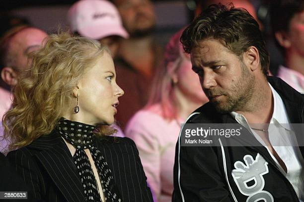 Nicole Kidman and Russell Crowe during the WBA Super Middle Weight Boxing Title Defence between the current champion Anthony Mundine of Australia and...