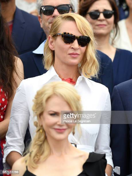 Nicole Kidman and Uma Thurman attend the 70th Anniversary Photocall during the 70th annual Cannes Film Festival at Palais des Festivals on May 23...