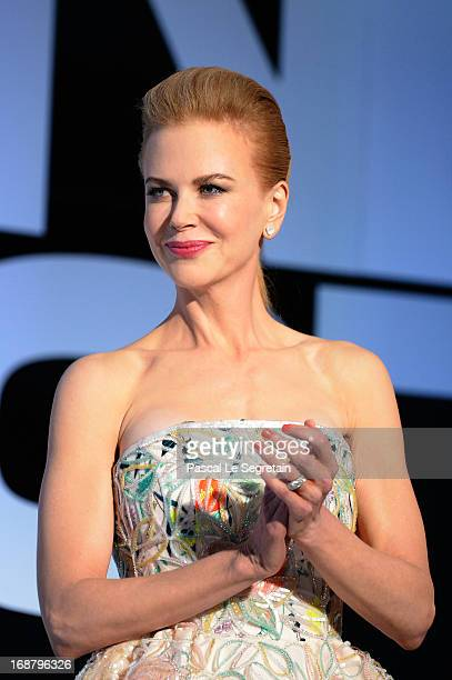 Nicole Kidman appears on stage during the Opening Ceremony of the 66th Annual Cannes Film Festival at the Palais des Festivals on May 15 2013 in...