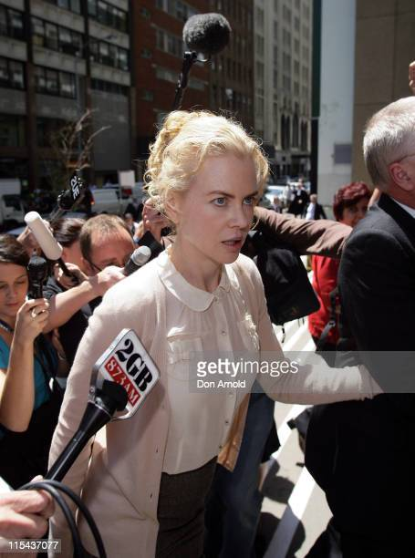 Nicole Kidman arrives at the NSW Supreme Court after giving evidence against photographer Jamie Fawcett on November 19 2007 in Sydney Australia...