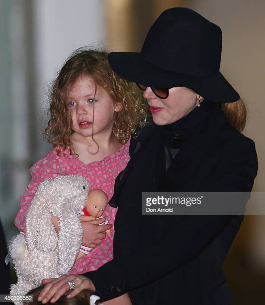 Nicole Kidman arrives with daughter Faith Urban at Sydney International Airport on June 11 2014 in Sydney Australia