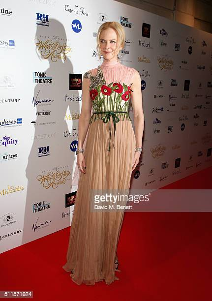 Nicole Kidman attends the 16th Annual WhatsOnStage Awards at The Prince of Wales Theatre on February 21 2016 in London England