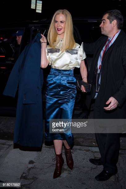 Nicole Kidman attends the Calvin Klein fashion show during New York Fashion Week at the American Stock Exchange Building on February 13 2018 in New...