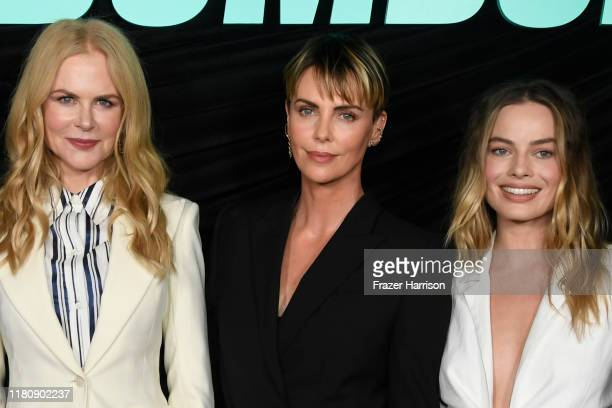 """Nicole Kidman, Charlize Theron, Margot Robbie attend a special screening of Lionsgate's """"Bombshell"""" at Pacific Design Center on October 13, 2019 in..."""
