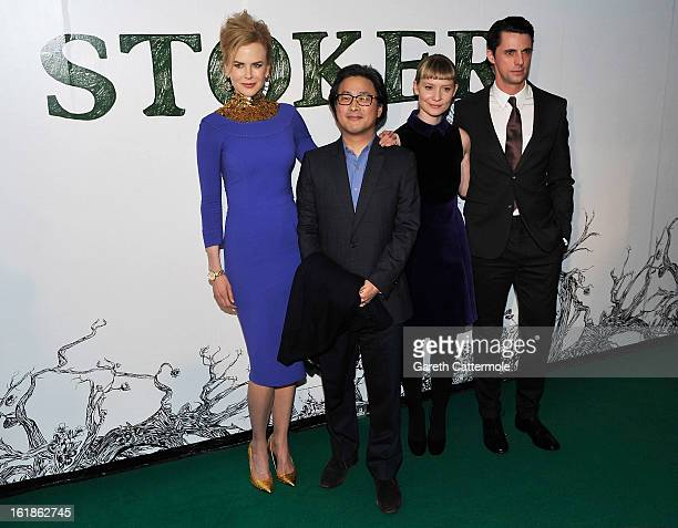 Nicole Kidman director Park ChanWook Mia Wasikowska and Matthew Goode attend a special screening of Stoker at Curzon Soho on February 17 2013 in...