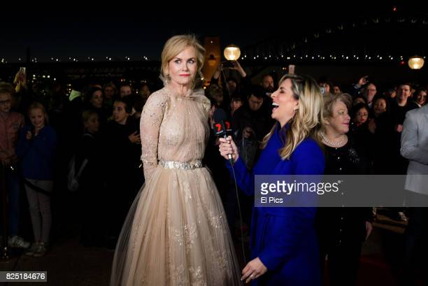 Nicole Kidman is interviewed on th ered carpet as she arrives ahead of the Top of the Lake China Girl Australian Premiere at Sydney Opera House on...