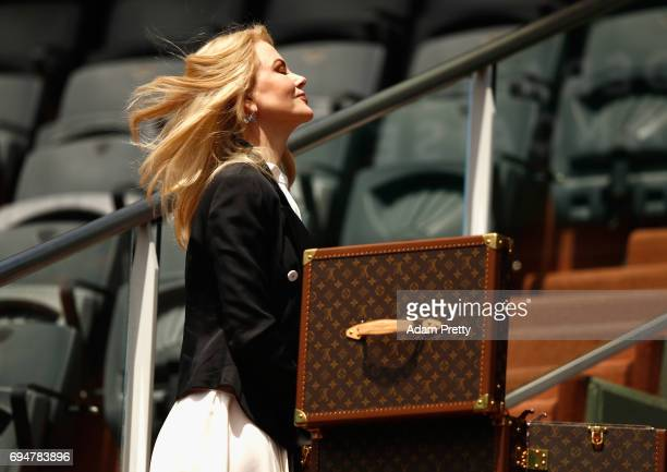 Nicole Kidman is pictured inside Court Philippe Chatrier prior to the mens singles final between Rafael Nadal of Spain and Stan Wawrinka of...