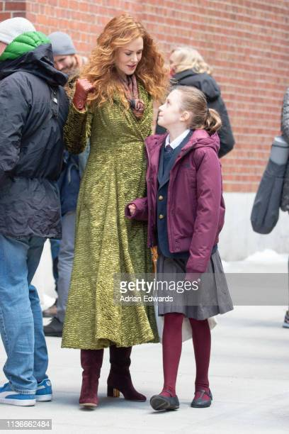 Nicole Kidman is seen on the set of 'The Undoing' with daughter, Sunday Urban on March 18, 2019 in New York City.