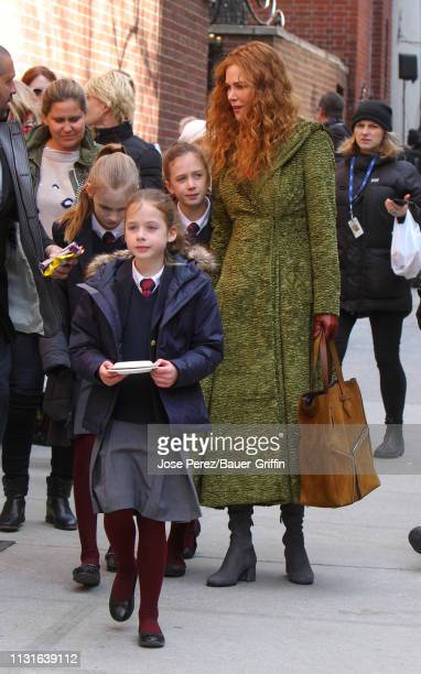 """Nicole Kidman is with daughters Sunday Rose Kidman Urban and Faith Margaret Kidman Urban after filming scenes of her new film """"The Undoing"""" on March..."""