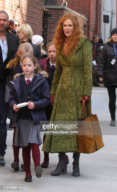 Nicole Kidman is with daughters Sunday Rose Kidman Urban and Faith Margaret Kidman Urban after filming scenes of her new film The Undoing on March 19...