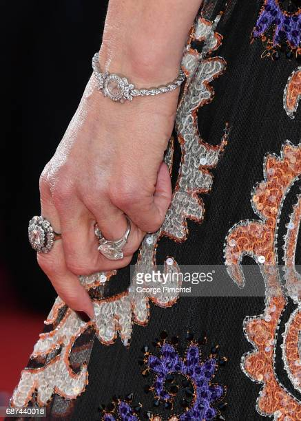 Nicole Kidman jewlery detail attends the 70th Anniversary screening during the 70th annual Cannes Film Festival at Palais des Festivals on May 23...