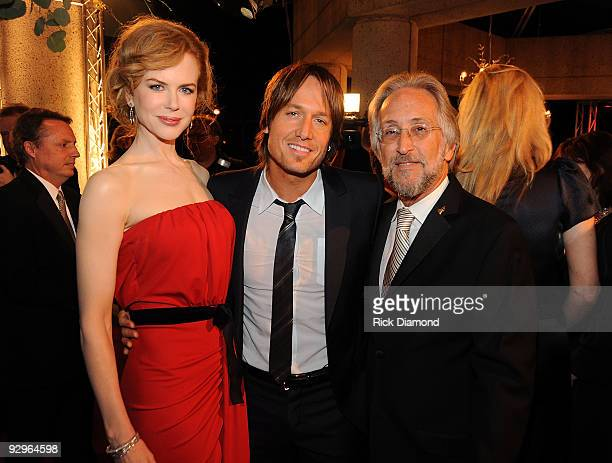 Nicole Kidman Keith Urban and President of the National Academy of Recording Arts and Sciences Neil Portnow attend the 57th Annual BMI Country Awards...