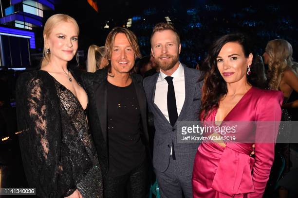 Nicole Kidman Keith Urban Dierks Bentley and Cassidy Black Bentley pose in the audience during the 54th Academy Of Country Music Awards at MGM Grand...