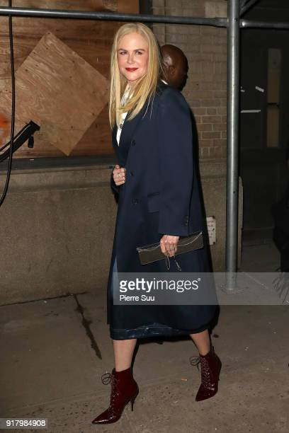 Nicole Kidman leaves the Calvin Klein Collection during New York Fashion Week at New York Stock Exchange on February 13 2018 in New York City