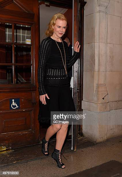 NIcole Kidman leaves the Noel Coward theatre after her latest performance in 'Photograph 51' on November 19 2015 in London England