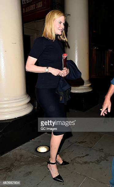 Nicole Kidman leaves The Theatre Royal Haymarket after watching Bradley Cooper in his latest performance in The Elephant Man on August 1 2015 in...