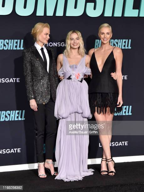 """Nicole Kidman, Margot Robbie, and Charlize Theron attend the special screening of Liongate's """"Bombshell"""" at Regency Village Theatre on December 10,..."""