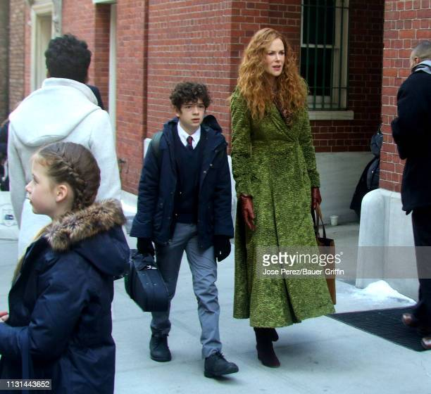 Nicole Kidman Noah Jupe and daughter Faith Urban are seen on the set of The Undoing on March 18 2019 in New York City