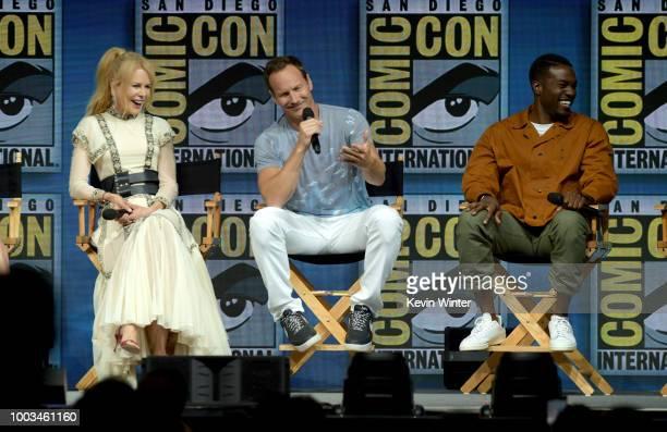 Nicole Kidman Patrick Wilson and Yahya AbdulMateen II speak onstage at the Warner Bros theatrical panel during ComicCon International 2018 at San...