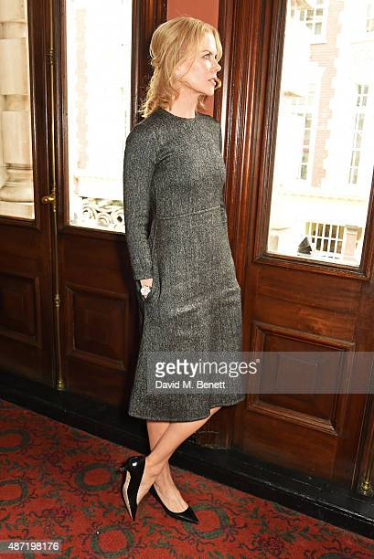 Nicole Kidman poses at a photocall for the Michael Grandage Company's production of 'Photograph 51' at the Noel Coward Theatre on September 7 2015 in...