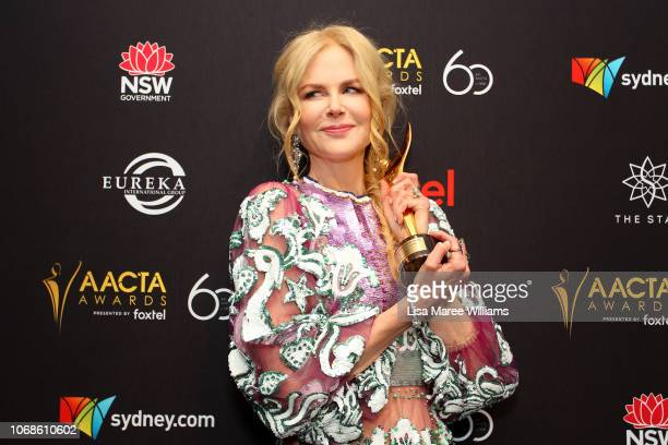 Nicole Kidman poses in the media room with the AACTA Award for Best Supporting Actress during the 2018 AACTA Awards Presented by Foxtel at The Star...