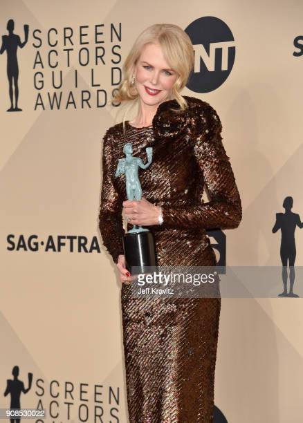 Nicole Kidman poses in the press room during the 24th Annual Screen ActorsGuild Awards at The Shrine Auditorium on January 21, 2018 in Los Angeles,...