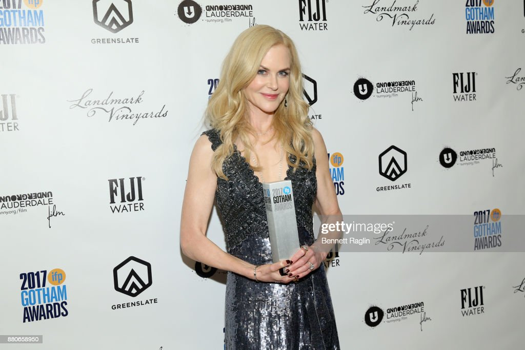 Nicole Kidman poses with award at the 2017 Gotham Awards sponsored by Greater Ft. Lauderdale Tourism at Cipriani, Wall Street on November 27, 2017 in New York City.