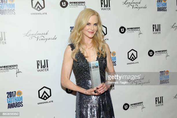 Nicole Kidman poses with award at the 2017 Gotham Awards sponsored by Greater Ft Lauderdale Tourism at Cipriani Wall Street on November 27 2017 in...