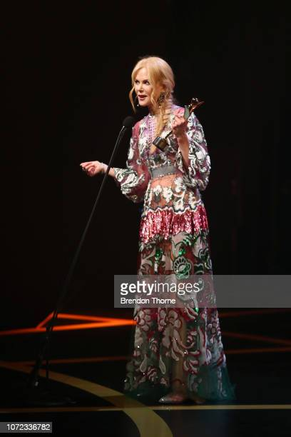 Nicole Kidman poses with the AACTA Award for Best Supporting Actress for Boy Erased backstage during the 2018 AACTA Awards Presented by Foxtel at The...