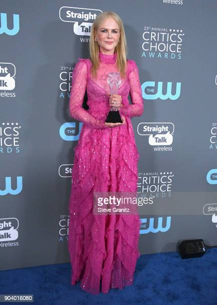 Nicole Kidman poses with the 'Best Actress in a Movie Made for TV or Limited Series' award for 'Big Little Lies' in the press room during The 23rd...