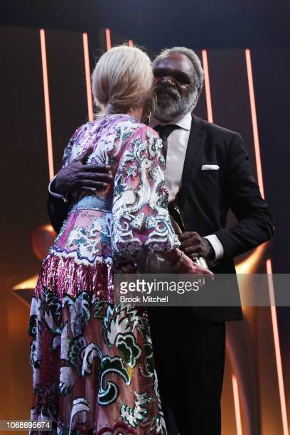 Nicole Kidman presents the AACTA Award for Best Lead Actor to Hamilton Morris during the 2018 AACTA Awards Presented by Foxtel at The Star on...