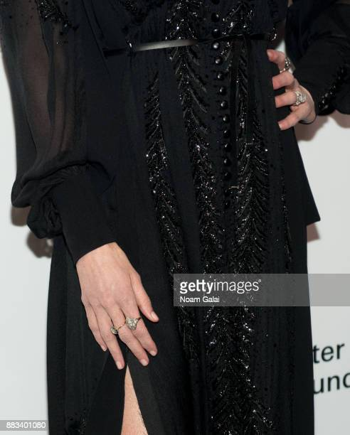 Nicole Kidman ring detail attends an evening honoring Louis Vuitton and Nicolas Ghesquiere at Alice Tully Hall at Lincoln Center on November 30 2017...