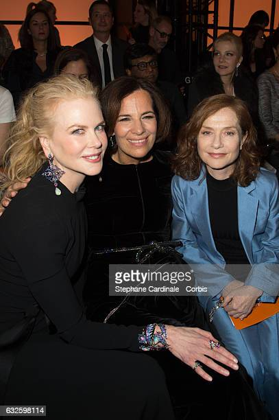 Nicole Kidman Roberta Armani and Isabelle Huppert attend the Giorgio Armani Prive Haute Couture Spring Summer 2017 show as part of Paris Fashion Week...