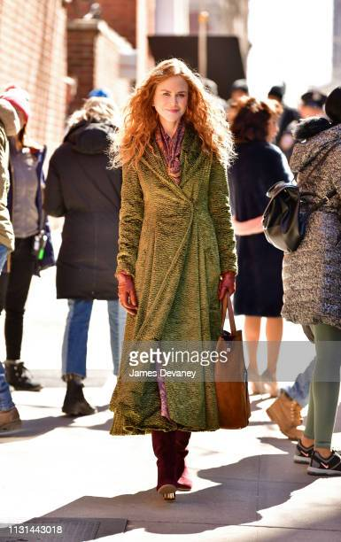 Nicole Kidman seen filming on location for 'The Undoing' on the Upper East Side on March 18 2019 in New York City