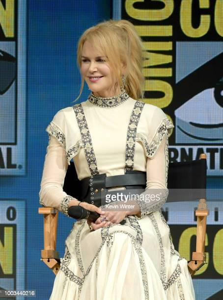 Nicole Kidman speaks onstage at the Warner Bros 'Aquaman' theatrical panel during ComicCon International 2018 at San Diego Convention Center on July...