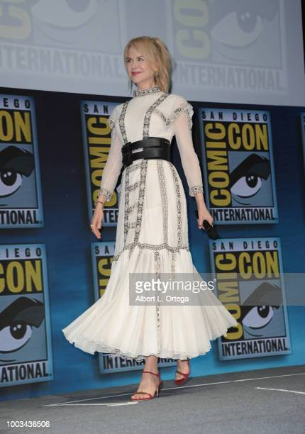 Nicole Kidman walks onstage at the Warner Bros 'Aquaman' theatrical panel during ComicCon International 2018 at San Diego Convention Center on July...
