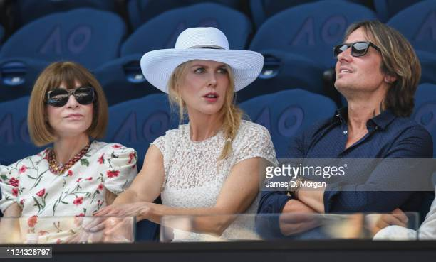 Nicole Kidman wears a hat on Rod Laver Arena watching the women's first semi final as she attends the 2019 Australian Open at Melbourne Park on...