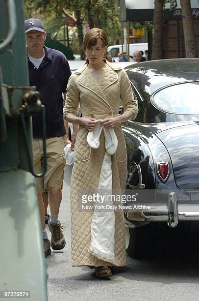 Nicole Kidman wears a quilted bathrobe during the filming of the movie Fur on E 54th St The film is based on Patricia Bosworth's biography of...