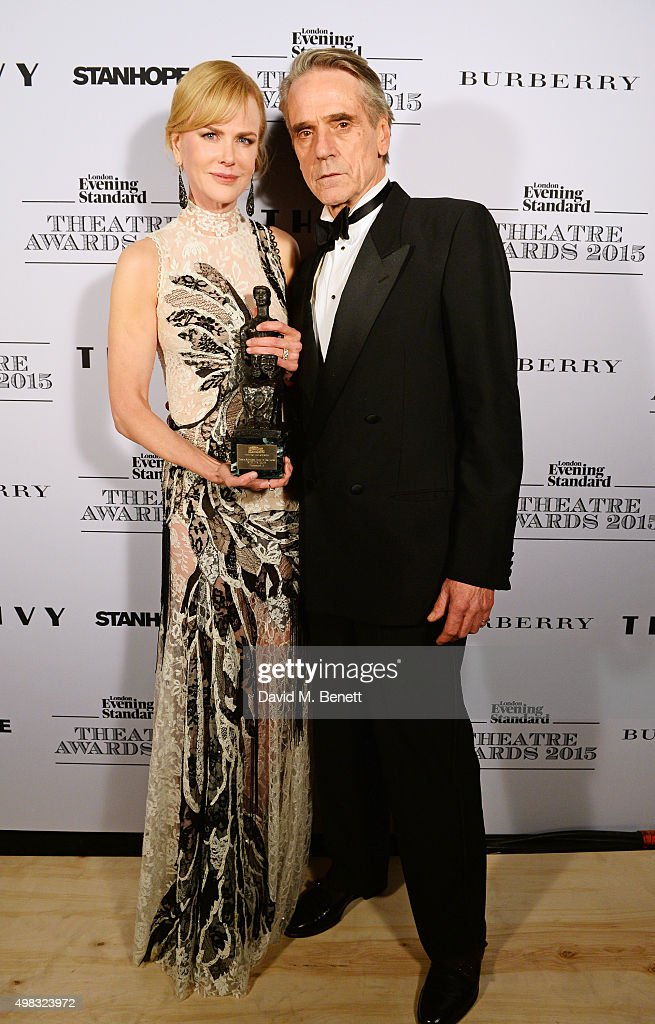 Nicole Kidman, winner of Best Actress for 'Photograph 51', and Jeremy Irons pose in front of the Winners Boards at The London Evening Standard Theatre Awards in partnership with The Ivy at The Old Vic Theatre on November 22, 2015 in London, England.